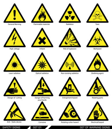 radiacion: Colección de las señales de advertencia. Ilustración del vector. Los signos de peligro. Los signos de alerta.