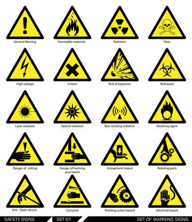 symbol hand: Sammlung von Warnzeichen. Vektor-Illustration. Anzeichen von Gefahr. Anzeichen von Warnungen.