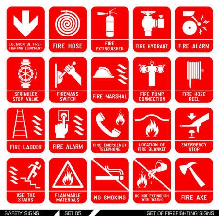 Ensemble de signes de lutte contre l'incendie. Collection des signes avant-coureurs. Vector illustration. Signe de danger. Les signes d'alertes. Icônes d'incendie. Banque d'images - 42809262