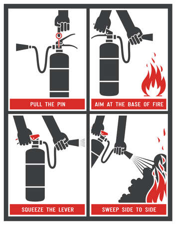 fire protection: Fire extinguisher signs. Vector illustration.