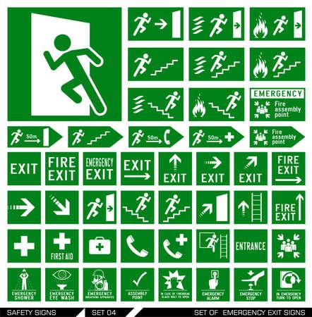 evacuacion: Conjunto de señales de salida de emergencia. Colección de las señales de advertencia. Ilustración del vector. Los signos de peligro. Los signos de alerta. Vectores