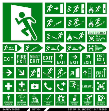 evacuation: Set of emergency exit signs. Collection of warning signs. Vector illustration. Signs of danger. Signs of alerts.