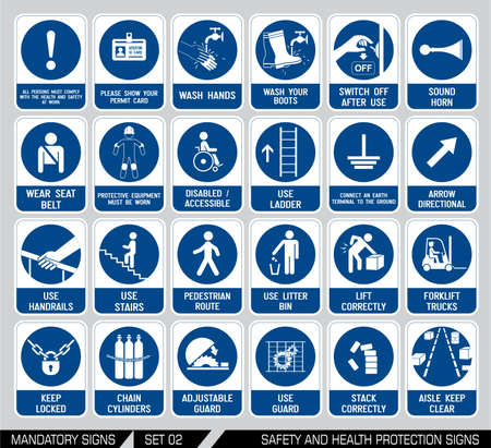 directives: Mandatory construction and industry signs. Collection of safety equipment. Protection on work. Vector illustration.