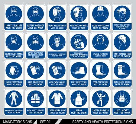 peligro: Muestras de la construcci�n y de la industria obligatorios. Colecci�n de equipo de seguridad. Protecci�n en el trabajo. Ilustraci�n del vector.