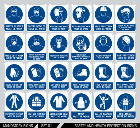 Mandatory construction and industry signs. Collection of safety equipment. Protection on work. Vector illustration.