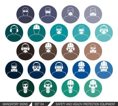 directives: Colection of safety and health protection equipment to be worn on head. Set of safety equipment signs. Vector illistration.