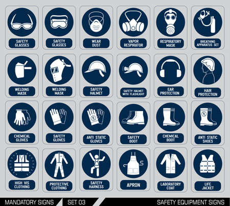 Mandatory construction and industry signs. Colection of safety and health protection equipment. Protection on work. Vector illustration. Stok Fotoğraf - 43873324