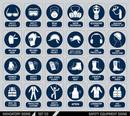 aparatos electricos: Muestras de la construcción y de la industria obligatorios. Colección de equipo de seguridad y protección de la salud. Protección en el trabajo. Ilustración del vector.