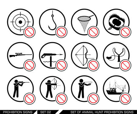 obligations: Set of animal hunt prohibition signs. Collection of signs that ban usage of animal hunt weapon. Prohibition signs. Signs of obligations. Signs of alerts. Vector illustration.