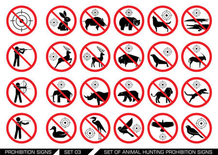 banned: Set of animal hunt prohibition signs. Collection of signs that prevent animal hunting. Animal hunt banned. Preserving wildlife.