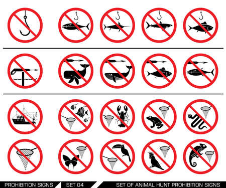 hunting season: Set of animal hunt prohibition signs. Collection of signs that prevent water and air  animal hunting. Animal hunt banned. Preserving wildlife. No using of harpoon. No catching animals with net.