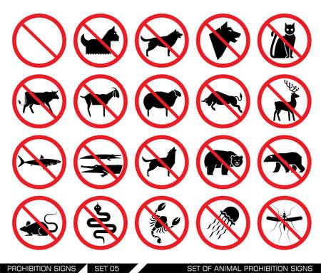 presencia: Conjunto de se�ales de prohibici�n de animales. Colecci�n de signos que proh�ben la presencia de animales. No se permite la entrada de animales. Ilustraci�n del vector. Vectores