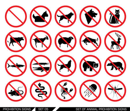 directives: Set of animal prohibition signs. Collection of signs that ban animal presence. Animal entrance is not allowed. Vector illustration. Illustration
