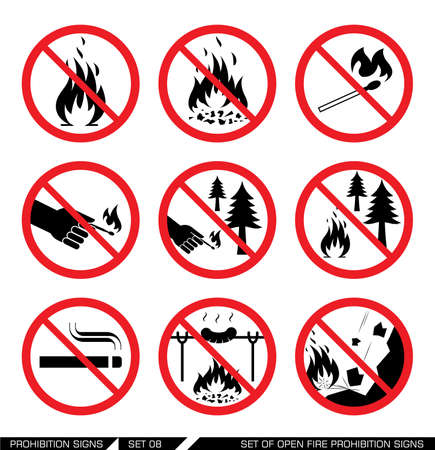 dangers: Set of open fire prohibition signs. Collection of prohibition signs. Open fire banned. No lighting fire in nature. Signs of danger. Signs of alerts. Fire icons.