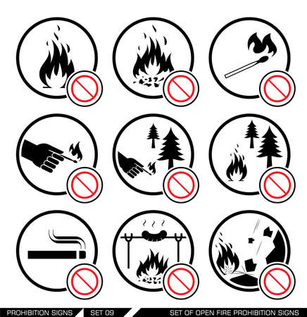 forest fire: Set of open fire prohibition signs. Collection of prohibition signs. Open fire banned. No lighting fire in nature. Signs of danger. Signs of alerts. Fire icons.