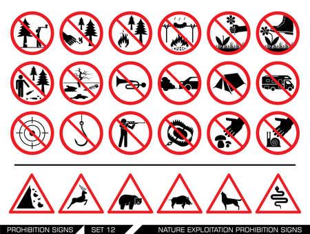 Insieme di natura sfruttamento cartelli di divieto. Raccolta di cartelli di divieto. Sfruttamento della natura vietato. Parchi Nazionali sono aree protette.