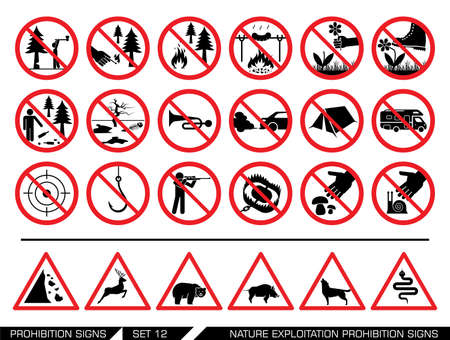 nature protection: Set of nature exploitation prohibition signs. Collection of prohibition signs. Exploitation of nature banned. National Parks are protected areas.