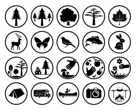 turismo: Insieme dei segni della natura. Raccolta di segni forestali e parchi. Campeggio in natura. Icone Ecoturismo.