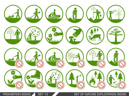 protect icon: Set of nature exploitation signs.  Set of signs that signify permitted and prohibited behavior in nature. Collection of forest and parks signs. Exploitation of nature.