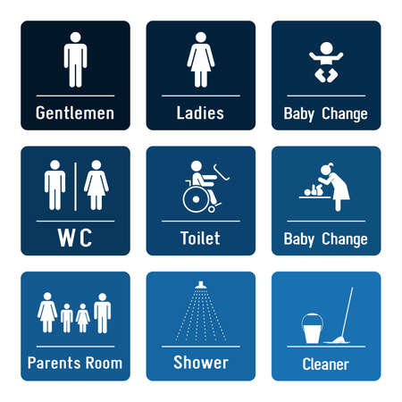 Collection of informational icons presenting toilette, bathroom and changing room. Set of informational signs.