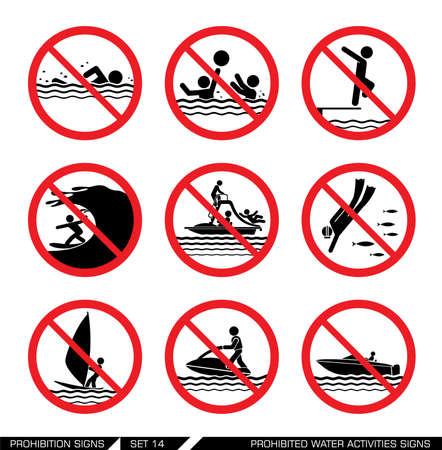 señales de seguridad: Colección de muestras pictograma que prohíben acciones peligrosas en el mar.