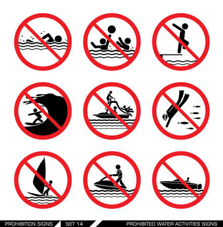 safety signs: Collection of pictograph signs that ban dangerous actions at the sea.  Illustration