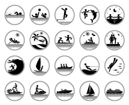 resort: Collection of pictograms presenting different activities at the sea. Swimming icons. Vector illustration. Illustration