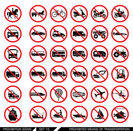 means of transportation: Collection of signs that ban usage of certain means of transportation. Transportation icons. Vector illustration.