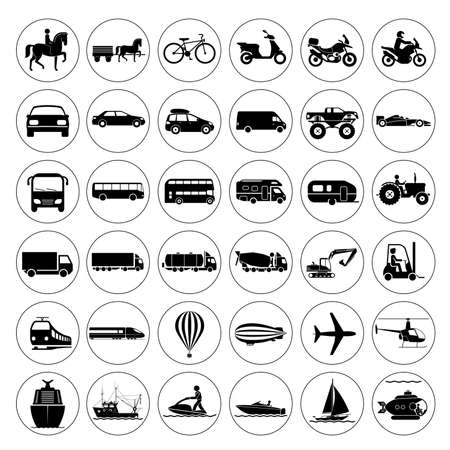 транспорт: Коллекция знаков, представляющих различные виды транспорта на суше, воде и в воздухе. Vintage и современные средства передвижения. Транспортные иконки. Иллюстрация