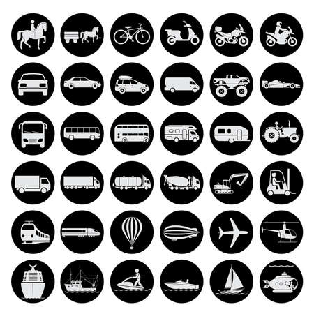 Collection of signs presenting different modes of transport on land, water and in the air. Vintage and modern means of transportation. Transportation icons. Stock Photo