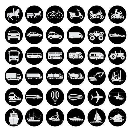 Insieme di segni che presentano diversi modi di trasporto a terra, l'acqua e in aria. Mezzi d'epoca e moderni di trasporto. Icone di trasporto. Archivio Fotografico - 43945332