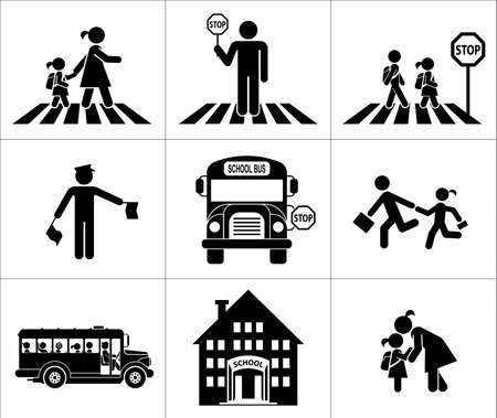 autobus escolar: Los niños van a la escuela. Icono Pictograma establecido. Cruzando la calle.