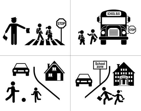 ir al colegio: Los niños van a la escuela. Icono Pictograma establecido. Cruzando la calle.