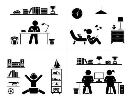 niños estudiando: Ilustración vectorial de los niños que hacen la preparación, aprendizaje y pasar tiempo en sus habitaciones. Vectores