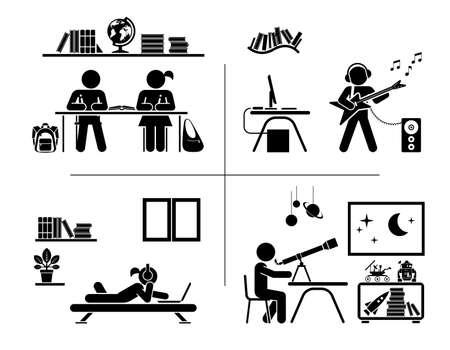 adolescencia: ilustración de los niños que hacen la preparación, de aprendizaje y de gasto y su tiempo libre en sus habitaciones.