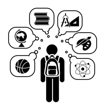 studing: Pictogram of a child going learning different school subjects. School days.