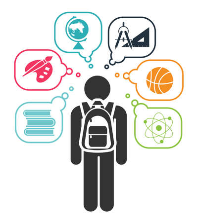 set going: Pictogram of a child going learning different school subjects. Pictogram icon set. School days. Vector illustration.