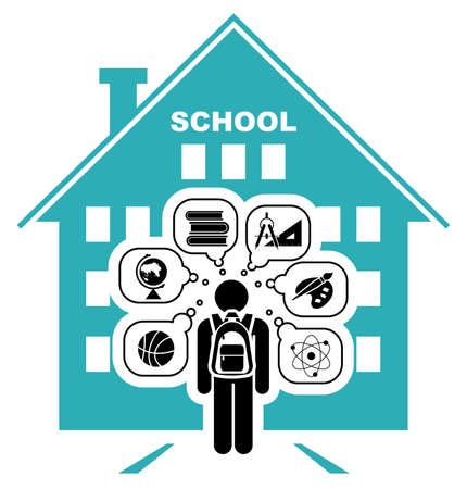 school bag: Pictogram of a child going to school. Learning different subjects. Pictogram icon set. Vector illustration.