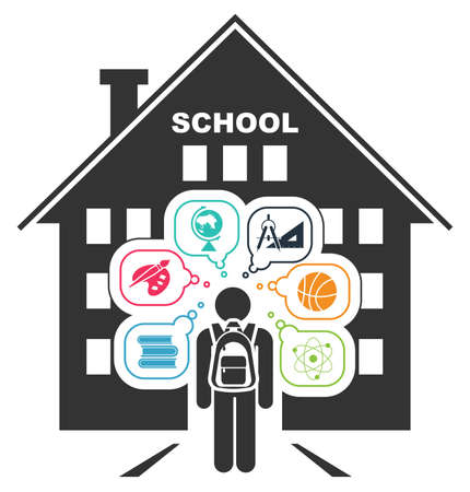 set going: Pictogram of a child going to school. Learning different subjects. Pictogram icon set.