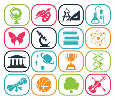 Collection of icons presenting different school subjects, science, art, history, geography, chemistry, maths, music, sports. Vector illustration.