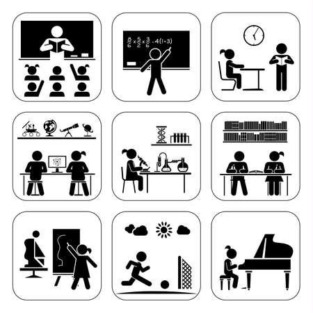 scuola: I bambini in classi che frequentano. Fare la matematica, la chimica, l'arte, suonare il pianoforte, imparare, fare sport. Illustrazione vettoriale.