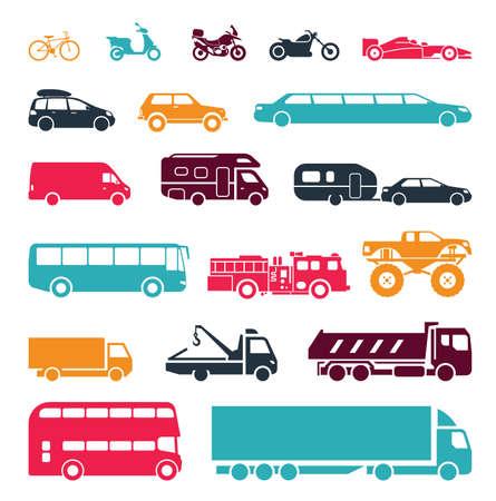 transport: Zbiór znaków przedstawiających różne rodzaje transportu na lądzie. Nowoczesne środki transportu. Transport ikony. Ilustracja