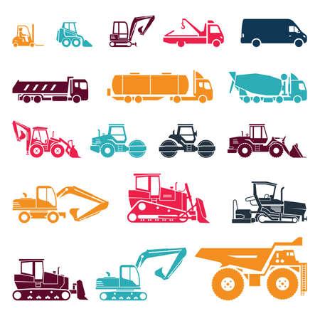 maquinaria: Colección de camiones pesados. Vehículos de servicio pesado, diseñado para ejecutar tareas de construcción y las operaciones de movimiento de tierras.