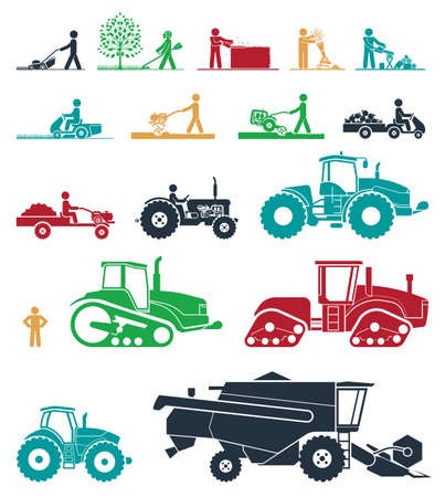 agriculture field: Agricultural mechanization. Mower, trimmer, saw, cultivator, tractors, harvesters, combines and excavators. Icon set of working machines.