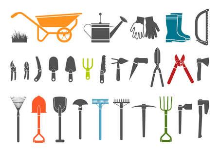 herramientas de trabajo: Herramientas de jardiner�a. Icono Pictograma conjunto de art�culos para jardiner�a.
