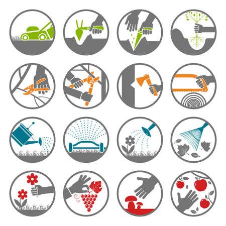 Set van verschillende pictogrammen presenteren verschillende soort werk en het gebruik van hulpmiddelen in tuinieren, gazon teelt en in de boomgaard. Stock Illustratie