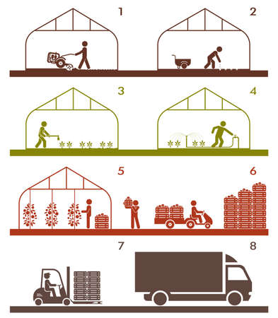 warehousing: Pictogram icon set presenting diferent stages in agricultural process and gardening. Plowing, sowing, watering, picking, palletisation and warehousing, transporting.