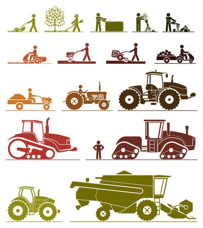 labranza: Conjunto de diferentes tipos de jardinería y vehículos agrícolas y máquinas. Mower, condensador de ajuste, sierra, cultivador, tractores, cosechadoras, cosechadoras y excavadoras. Icono conjunto de máquinas de trabajo.
