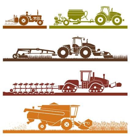 Set di diversi tipi di veicoli agricoli e macchine mietitrici, mietitrebbie ed escavatori. Set di icone di macchine per la lavorazione. Macchine agricole con accessori per l'aratura, la falciatura, la semina, l'irrorazione e raccolta.