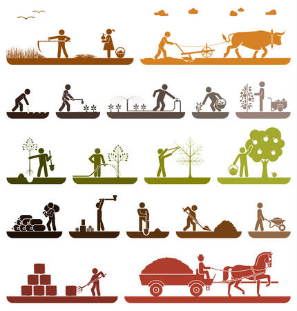 harvest: Mowing, plowing, planting, watering, pruning trees, digging, chopping wood, baling hay, collecting crops, transporting with horse drawn wagon. Agriculture icons.